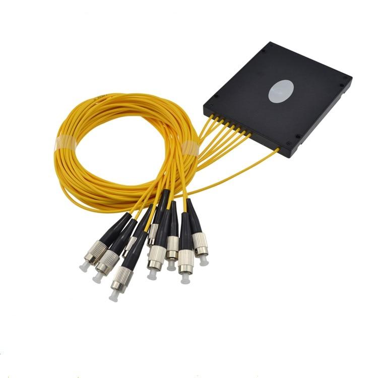 Free Shipping High Quality GPON EPON 2.0mm 1M 1x8 ABS Box PLC Splitter Module FC/UPC Fiber Optical PLC Splitter