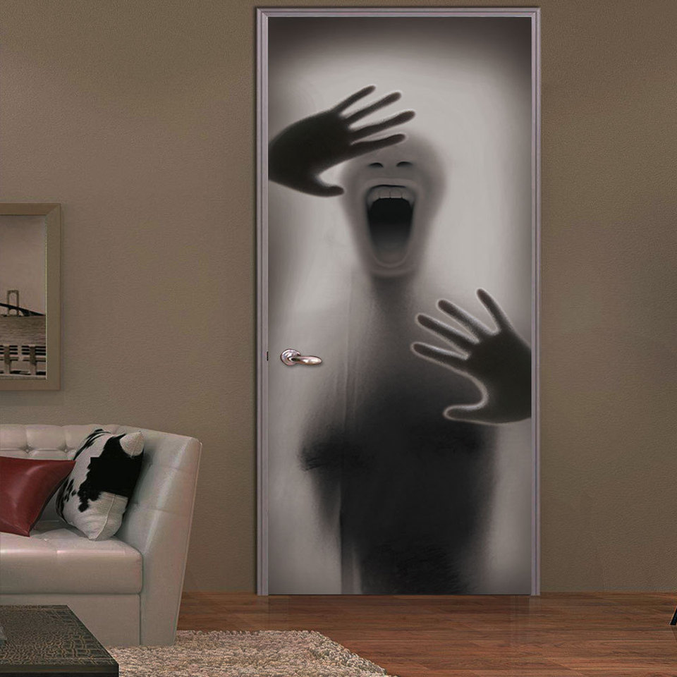 Figure Behind Glass Door Halloween Decorations Door Stickers