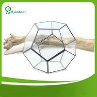 Garden Supplies Flower Pots Tabletop Dodecahedron Geometric Metal Glass Terrarium Gardening Decorative Flowers Pot