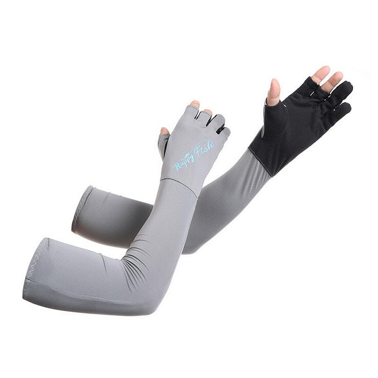 Ocamo UV Protection Cooling Arm Sleeves Long Gloves Sun UV Protection Hand Protector Cover Sunscreen Ice Silk Arm Sleeves blue