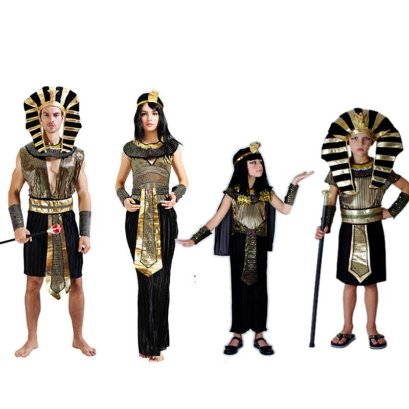 Halloween Adult Kids Children Egyptian Pharaoh Costumes Cosplay Masquerade Costume Egyptian Pharaoh Cleopatra Royal