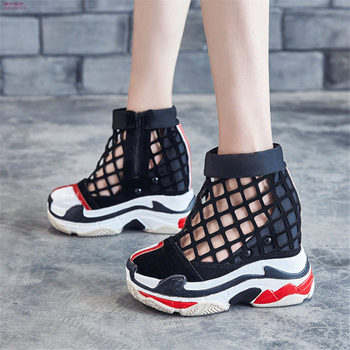 Summer Creeper Shoes Women Faux Suede Wedges Platform High Heels Party Pumps Casual Shoes Breathable Trainers Fashion Sneakers