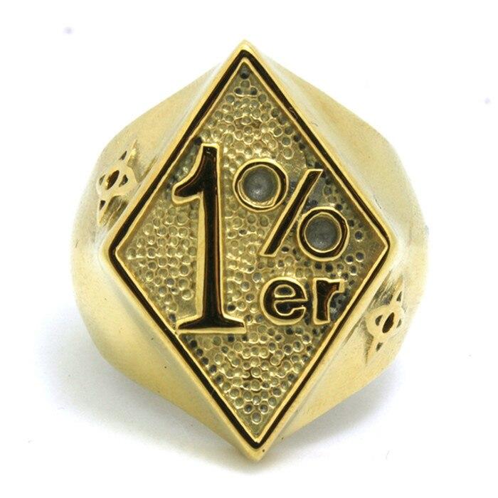1pc Newest Star Golden 1% er Mens Boy Ring 316L Stainless Steel ...