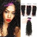 Queen hair tecer com fechos de rendas cabelo virgem peruano com fechamento 6A Fechamento Onda Profunda Peruano 3 Pcs cabelo Humano Com fechamento