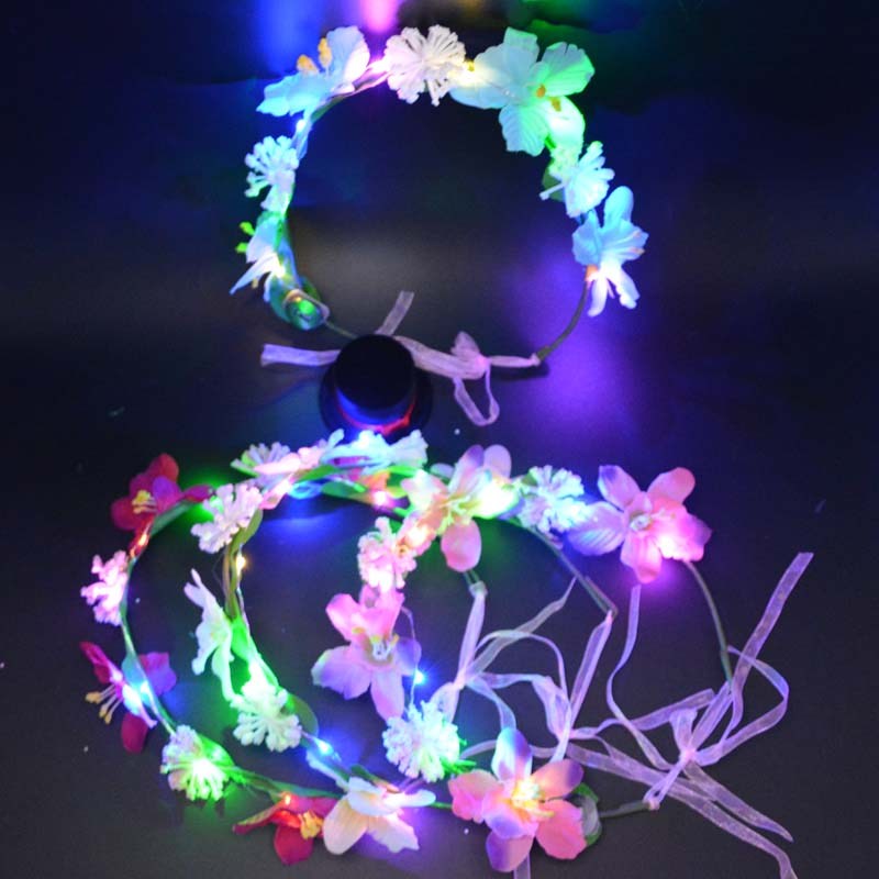 Women Girl LED Flashing Flower Headbands Light Floral Garland Wreath Glow Birthday Party Decorations Wedding Favors led party in Glow Party Supplies from Home Garden
