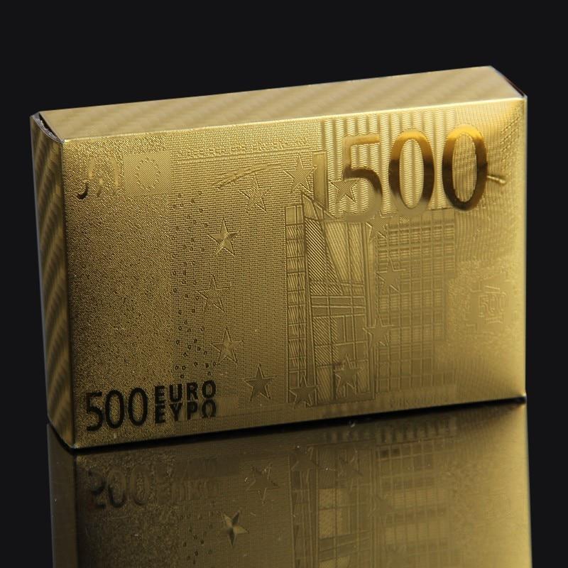 Euro πλαστική κάρτα 24k Χρυσό Κάρτες Παίκτες PVC Αδιάβροχο Πλαστικό Παιχνίδι Κάρτα Κλαμπ Παιχνίδι Παιχνίδι Κάρτες Χρυσή Plated Δώρο Deck