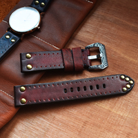 Watch Bracelet Band 18mm 20mm 22mm 24mm Watch Strap Vintage Genuine Leather Thick Watchband Panerai with Rivet Accessories KZC02