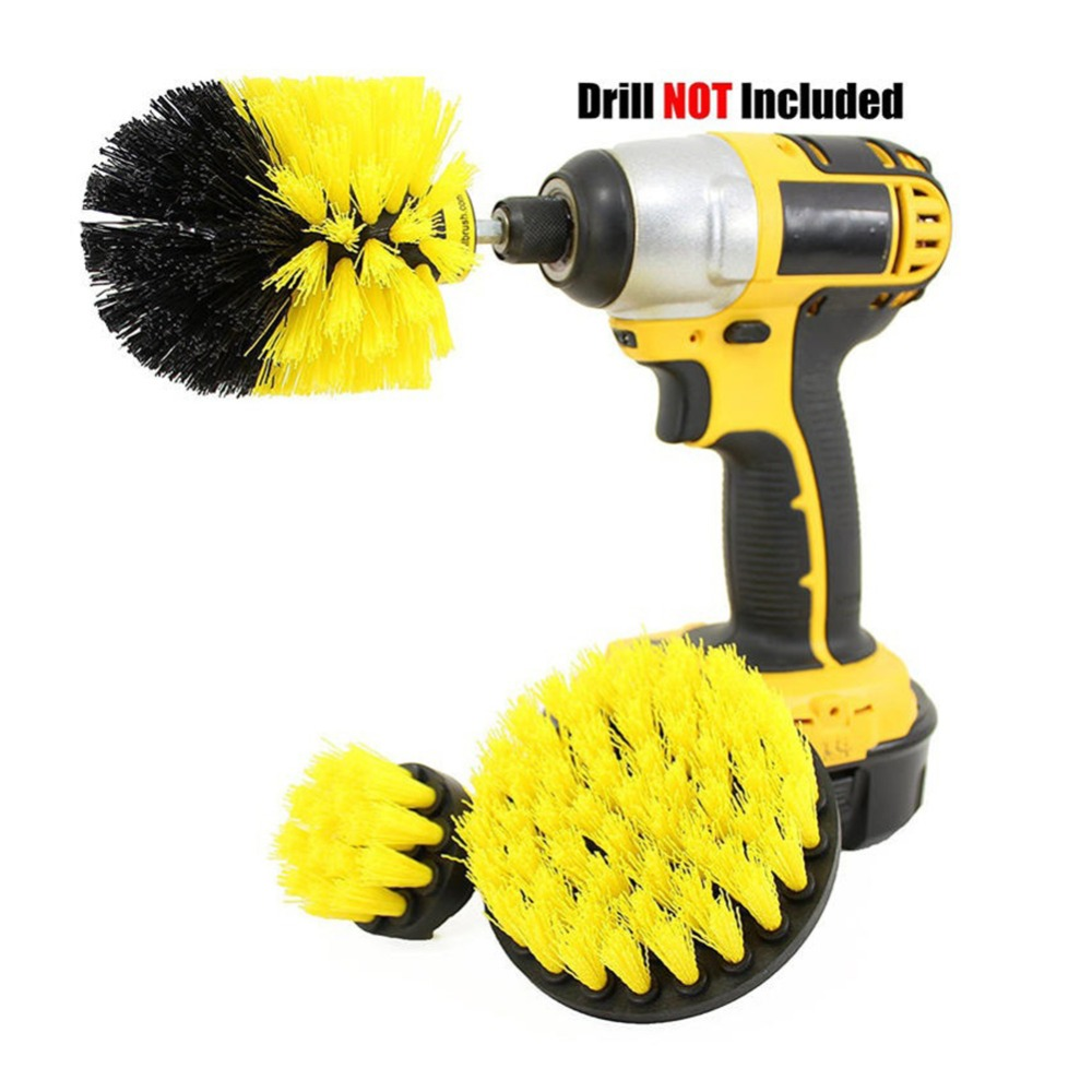 3 pcs/set Power Scrubber Brush Drill Brush Clean for Bathroom Surfaces Tub Shower Tile Grout Cordless Power Scrub Cleaning Kit