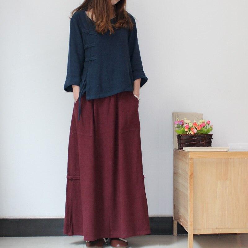 The 2015 Branch Brand New Spring Linen Skirt Simple Texture Drape Skirt Folk Style Skirt