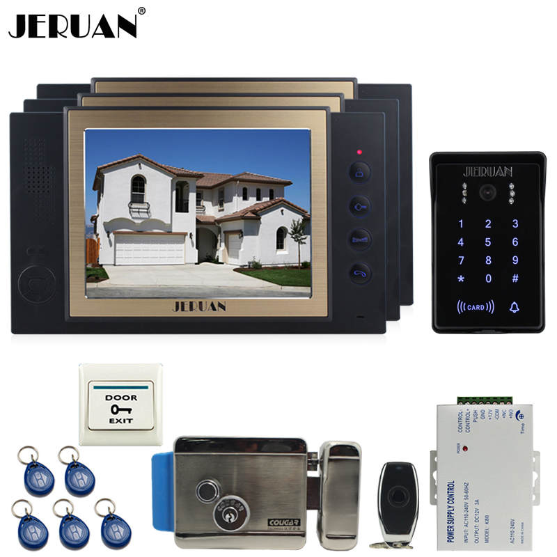 JERUAN Wired 8`` video doorphone Record intercom system kit 3 monitor New RFID waterproof Touch Key password keypad Camera 8G SD rfid keyboard ip65 waterproof video doorphone intercom system for 3 apartments with 7 color lcd video intercom system in stock