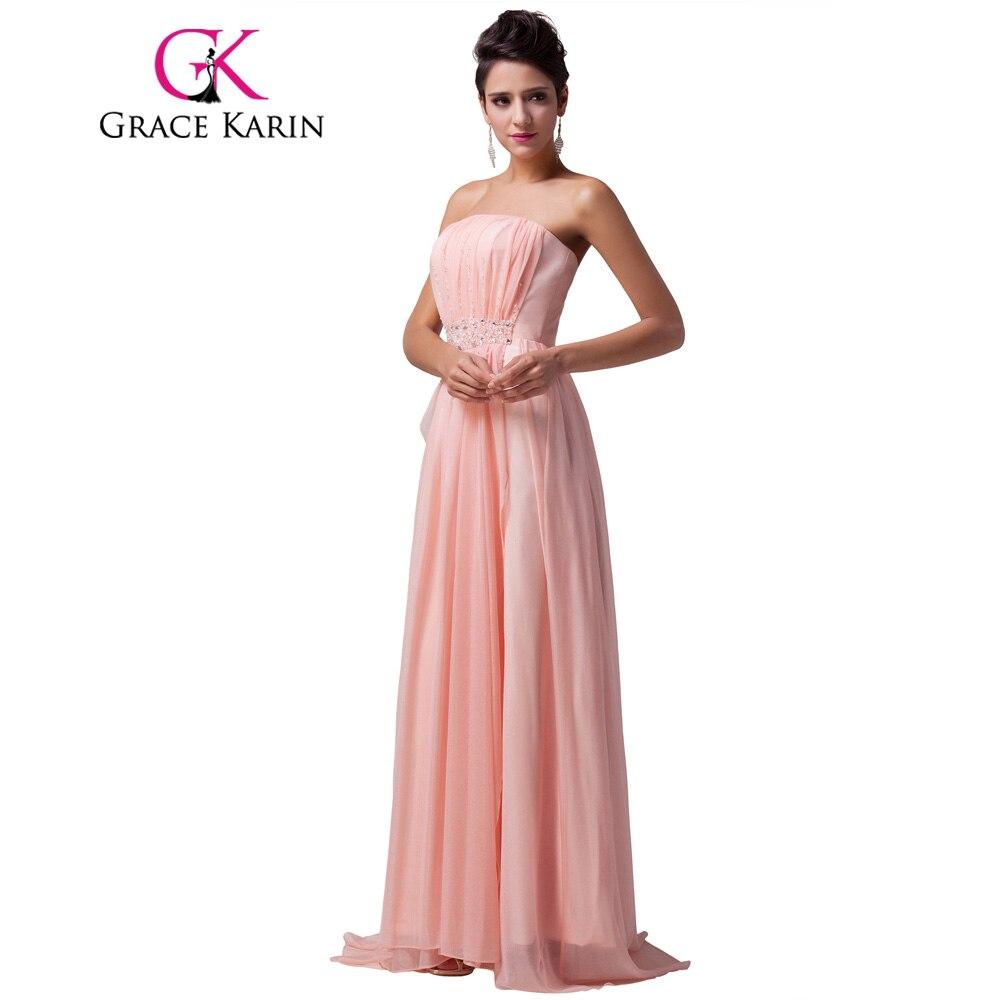 Grace karin largo sin tirantes de color rosa vestidos de dama de ...