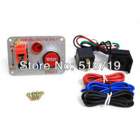 Free Shipping Chrome Ignition Toggle Switch Engine Start Push Starter Button Panel Kit Racing