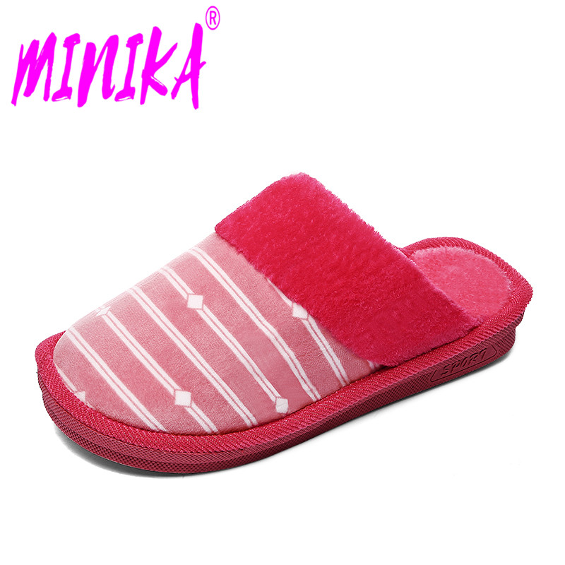 MINIKA Huge Dimension 35-45 Informal Striped Heat Quick Plush Cotton Slippers Flat Footwear Girl Indoor Non-Slip Flooring for Bed room Footwear Girls's Flats, Low-cost Girls's Flats, MINIKA Huge Dimension...