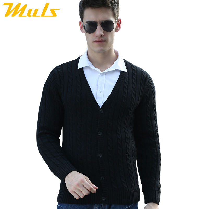 Men cardigan black cotton sweater male Thick winter jacket coat ...