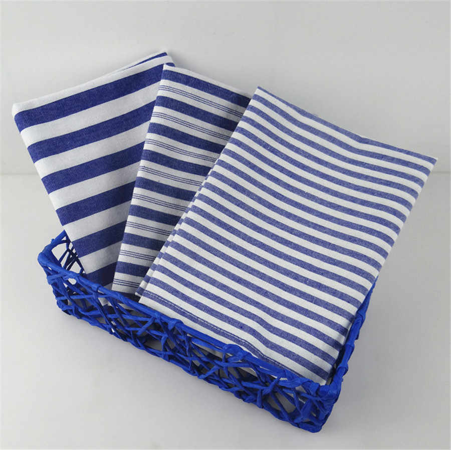 Mediterranean Wind Sailling Cotton and Linen Table Napkin Dish Cloth Blue stripes Kitchen Towel Tea and Coffee Pad Home textiles
