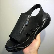Мужские черные сандалии; Роскошная обувь; высококачественные гладиаторы для отдыха в римском стиле из натуральной воловьей кожи