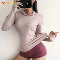 Colorvalue Loose Solid Sport Fitness Shirts Women Quick Dry Gym Running Hoodie Long Sleeve Nylon Jogging Jersey with Thumb Holes