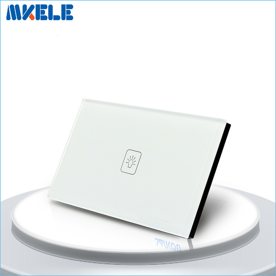 US Standard Smart home Touch Switch 1 Gang 1 Way White Crystal Glass panel Light Switch ,Touch Screen wall switch 2016 hot sale touch switch crystal glass panel us au light switch 2 gang 1 way wall switch smart home touch switch