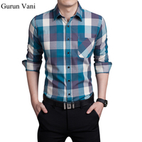 2015 New Arrival Mens Long Sleeve Dress Shirts Plaid Style Fashion Business Slim Fit Cotton Shirts