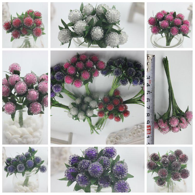 144 шт. Малый Ягоды Искусственные цветок красная вишня тычинки перламутровые свадебные моделирования стекло «Гранат» украшения