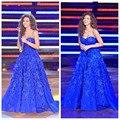 2016 Myriam Fares Vestidos Applique vestido de baile Querida vestidos no tapete vermelho de Cetim Fora do Ombro Azul Royal Celebridades Vestidos