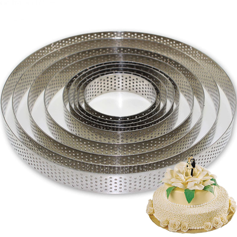 9pcs Set Round Stainless Steel Cake Fruit Pie Making Molds Mousse Cake Pizza Dessert DIY Decoration
