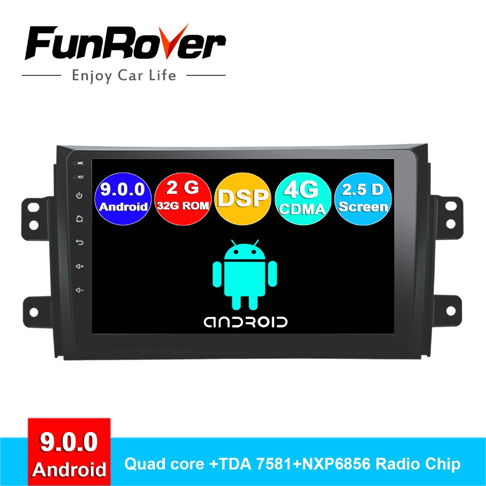 Lecteur multimédia dvd de voiture FUNROVER android 9.0 2 din pour Suzuki SX4 2008 2011 2006-2013 radio gps navigation navi stéréo DSP SIM
