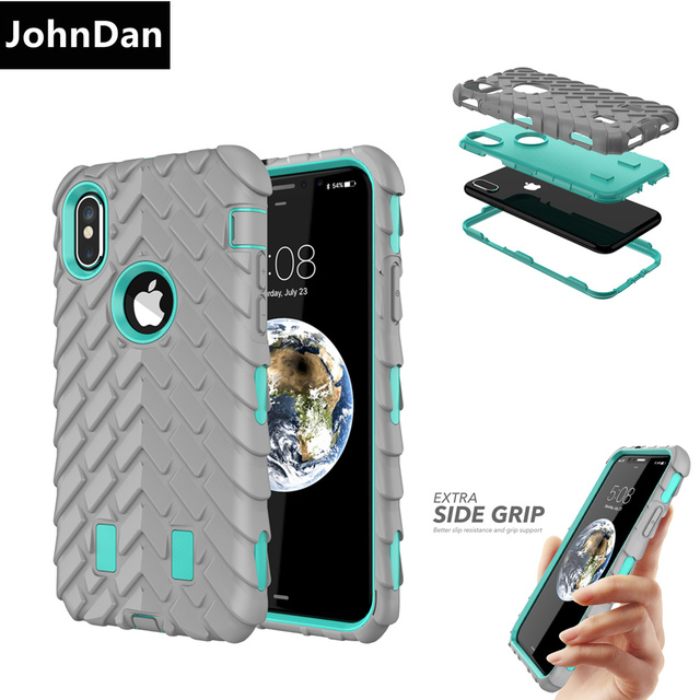 premium selection 22db3 4dd13 US $7.59 5% OFF|For Apple iPhone X 6S 7 8 Plus Silicone + PC Anti Shock  Rugged Combo Defender 3D Armor Case For iPhone 6s 6 7 8 Plus Armor Cover-in  ...
