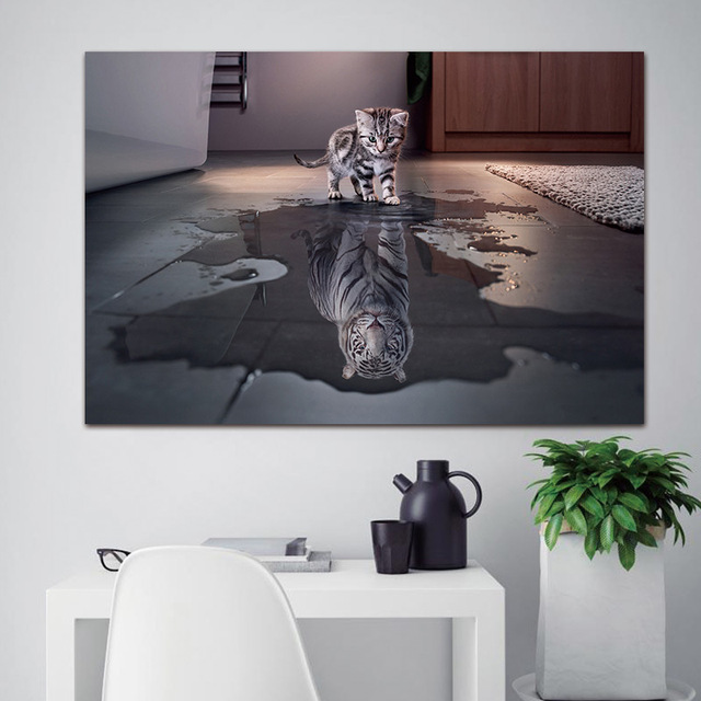 Canvas Wall Art Pictures 1 Panel Cat And Tiger Painting Home Decor HD Prints Reflection Cat Animals Poster Living Room Frame
