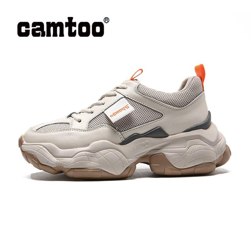 CAMTOO mode femmes chaussures dames chaussures décontractées en cuir véritable fond épais Chunky baskets Chaussure Swing minceur chaussures