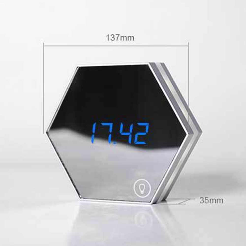Цифровой будильник Многофункциональный светодиодный Экран настольные часы с подвеской ночь зеркало для макияжа с лампой термометр Home Decor подарок