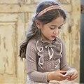 Девушки Кружева Рубашки Детская Одежда Серый/Белый Осень-Весна С Длинными Рукавами Маленькие Девочки Дети Хлопок Рубашка Свадьба Пром рубашка