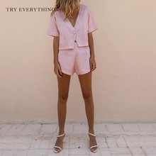 Pink Boho Playsuit Women Summer 2019 Fashion Plaid Loose Jumpsuit Female Casual Two Piece Short Womens Rompers