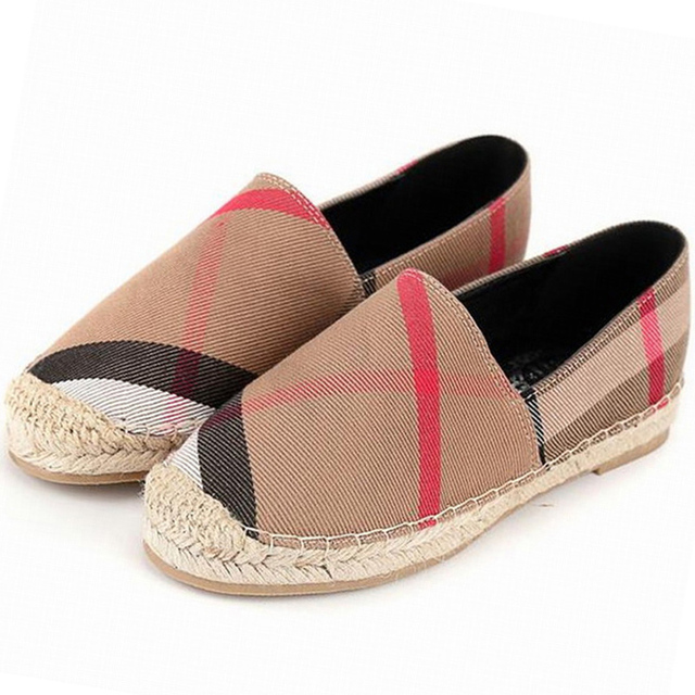 2017 New womens espadrilles casual fisherman shoe checks grids stripped canvas slip on snickers skate ballet flats loafers