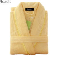 Men 100 Cotton Terry Bathrobe Lovers Solid Towel Sleepwear Long Bath Robe Kimono Male Dressing Gown