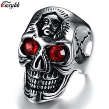 Dropshipping Gothic Punk Men Stainless Steel Ring Vintage Statement Hip Hop Skull Rings For Men Jewelry Accessories(China)