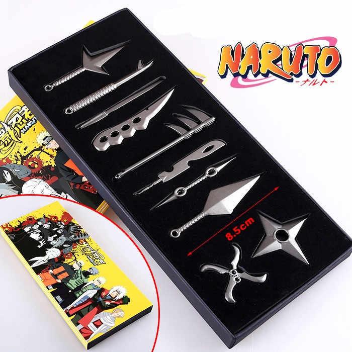 Conjunto de Armas Naruto Anime Naruto Akatsuki Orochimaru Uchiha Itachi Madara Sasuke Armas Brinquedos Coleção 10 pçs/lote 6.5-8 cm