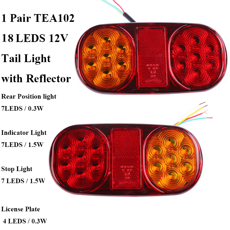 Image 2 - 1 Pair AOHEWEI 12v 18 leds trailer light  brake stop position led light turn light License Plate number plate tail light truck-in Truck Light System from Automobiles & Motorcycles