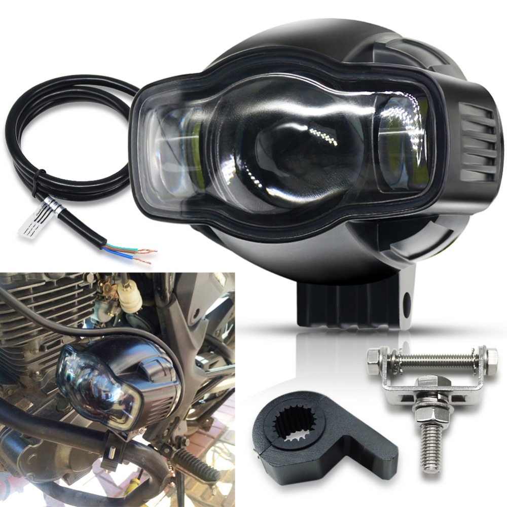 Motorcycle Lights LED Spot Light 20W USB Charger Motorcycle Headlights White Fog Lamp Universal IP68 Driving