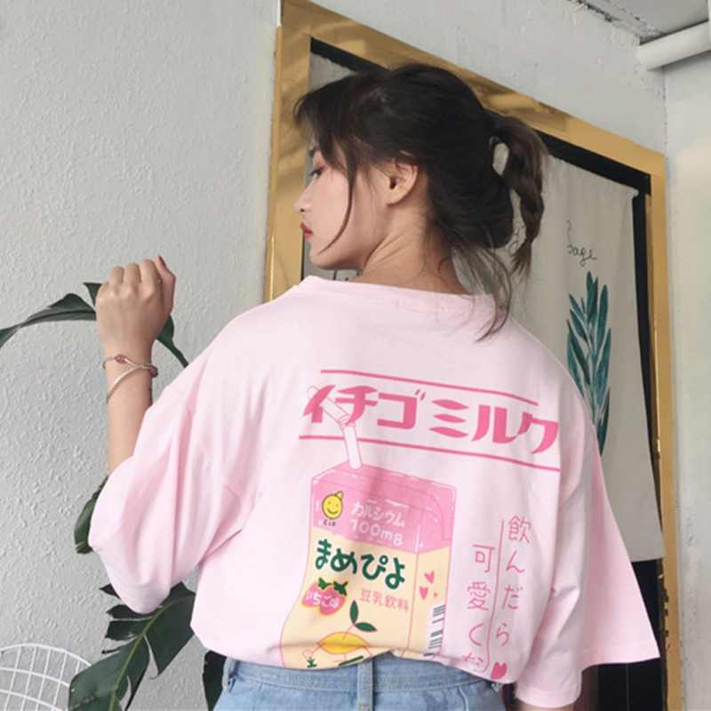 ROPALIA Women s Harajuku Kawaii Print Milk Loose T Shirt Summer Women  Cotton T-shirt Short bcf0b9842f4