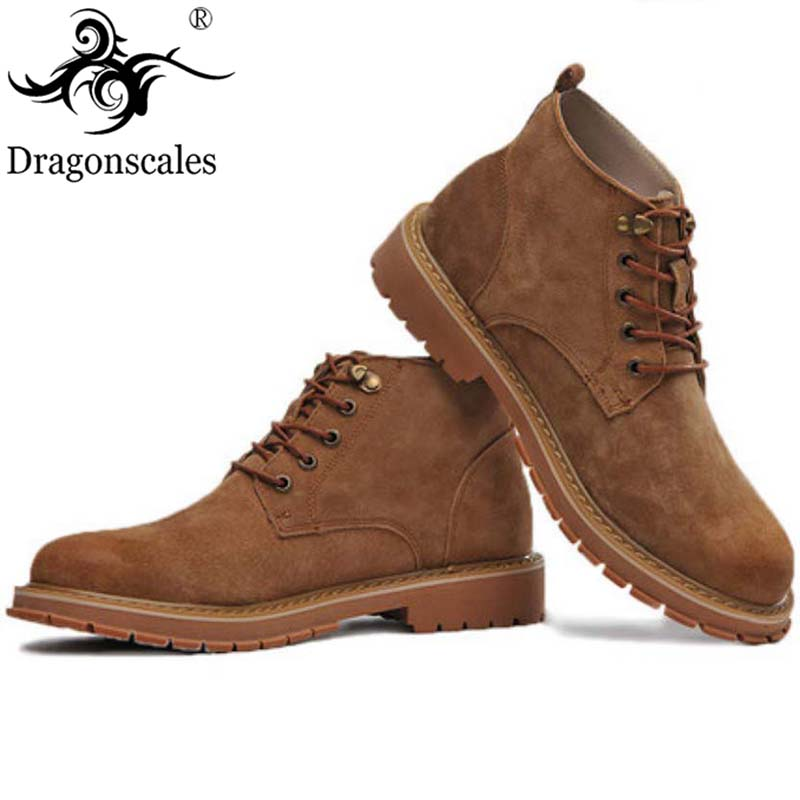 2019 Genuine Leather Safety Work Boots Crazy Horse Leather Martin Boots Men Fashion Desert Boots Popular High Top Leather Shoes