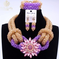 Trendy New Nigerian Necklace Jewelry Set Purple and Gold Large Design Wedding Party Earrings Necklace Jewelry Sets