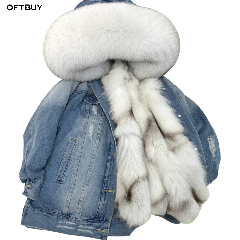 OFTBUY 2019 Denim Parka Winter Jacket Women Real Fur Coat Natural Raccoon Fur Collar Real Thick Warm Fox Fur Liner Outerwear New