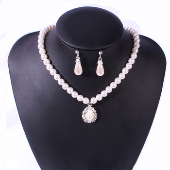 USENSET Charm Necklace Women Pearl Necklace Crystal Rhinestone Chain Necklace Beads Stud Earrings Jewelry Sets & More 1