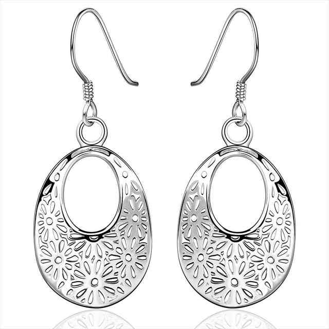 Lose Money Promotions! Wholesale  silver earing, silver plated fashion jewelry, hollow flower earrings For Women  SMTE581