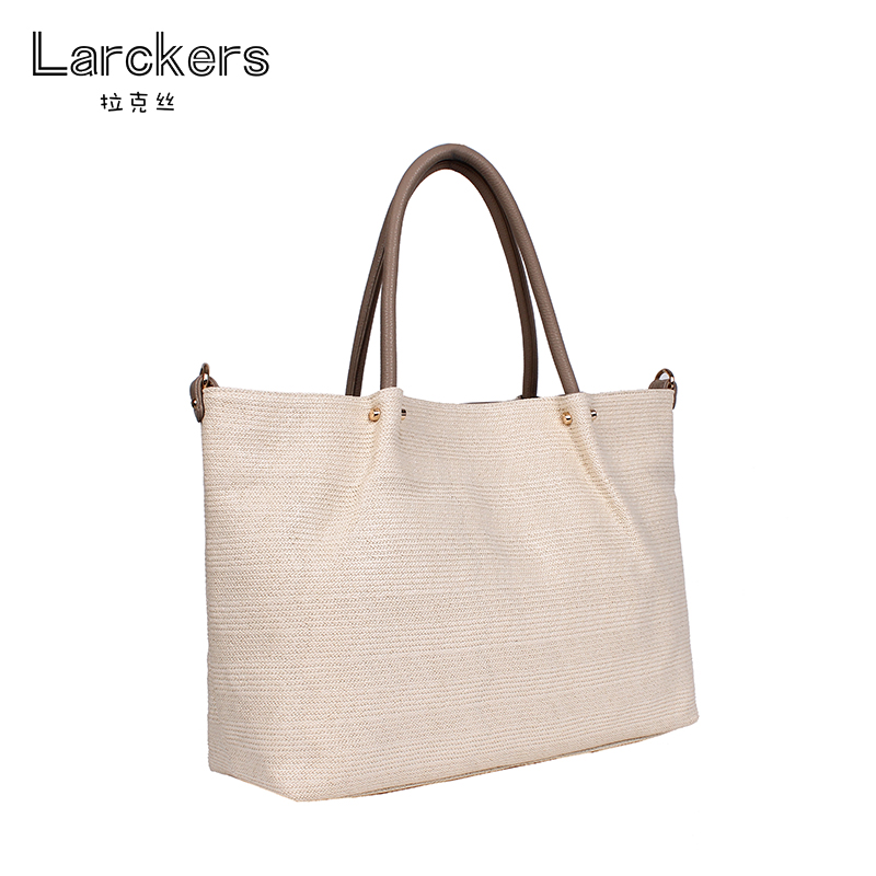 Larckers high quality straw and linen women solid handbag big capacity casual ladies shoulder bag soft and environmental bags alfani women s linen blend open front cardigan straw pm