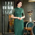 Free shipping high-grade long cheongsam Lace cheongsam qipao dress chinese traditional clothing oriental dresses green