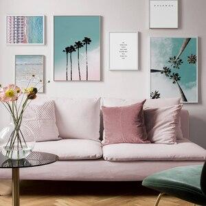 Image 3 - Cocotero palmera Rosa playa paraguas de mar cuadro sobre lienzo para pared cartel nórdico Decoración Para sala de estar sin marco