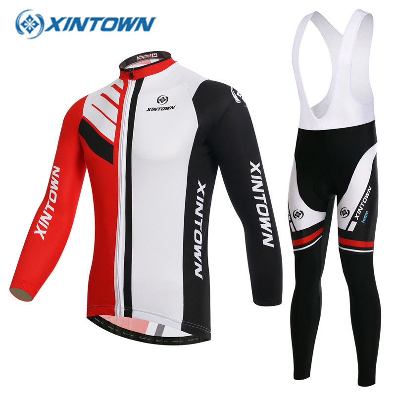 2017 Winter Cycling Jerseys GEL Pad Breathable Thermal Fleece Jerseys And Bib Pants Sets MTB Bike Red Bicycle Clothing 2016 unisex breathable mountain bicycle jerseys cycling gel pad racing bike quick dry cycling clothing cycling jerseys sets