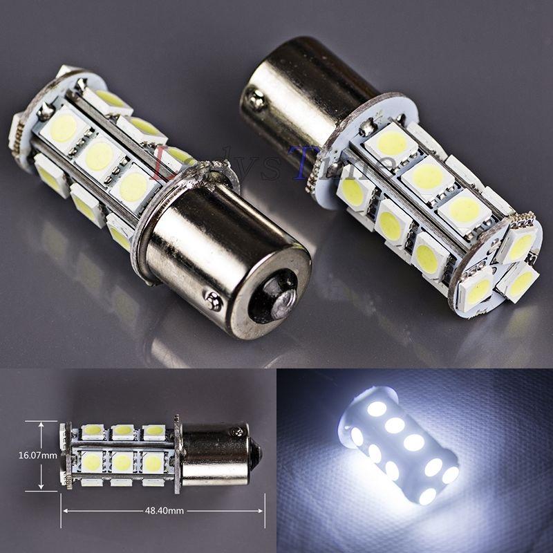 CYAN SOIL BAY 2X White Ba15s 1156 P21W 18 SMD 5050 LED Bulb Car Turn light Signal Super Bright DC 12V 24V highlight h3 12w 600lm 4 smd 7060 led white light car headlamp foglight dc 12v
